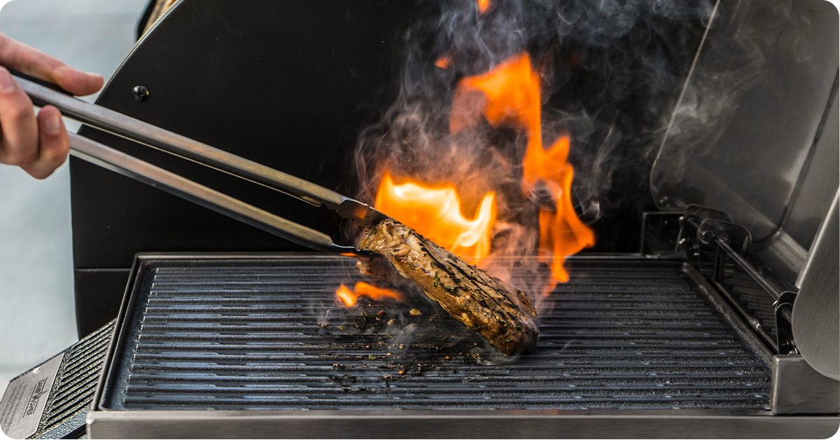 grilling with fire