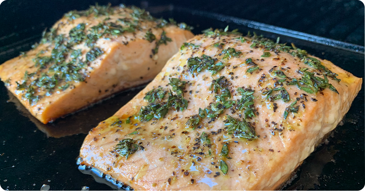 grilled, smoked salmon