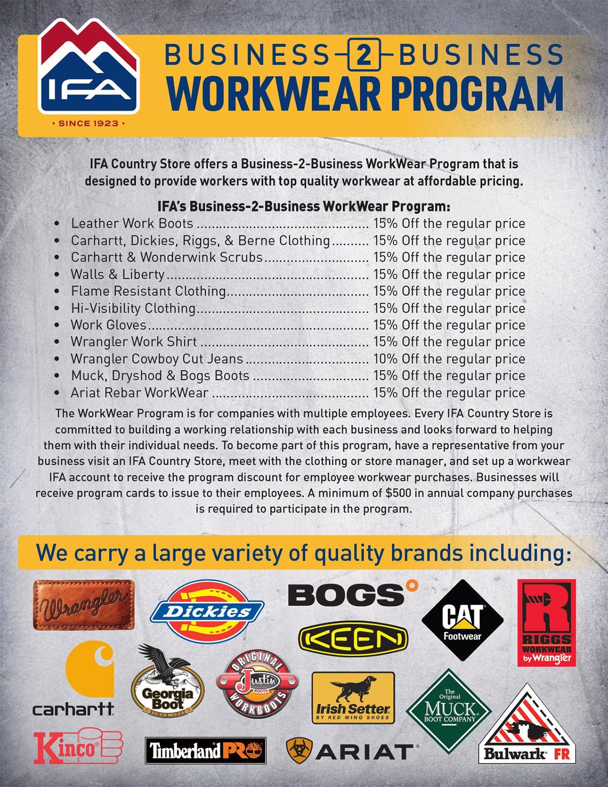 IFA's B2B Workwear program details and brands