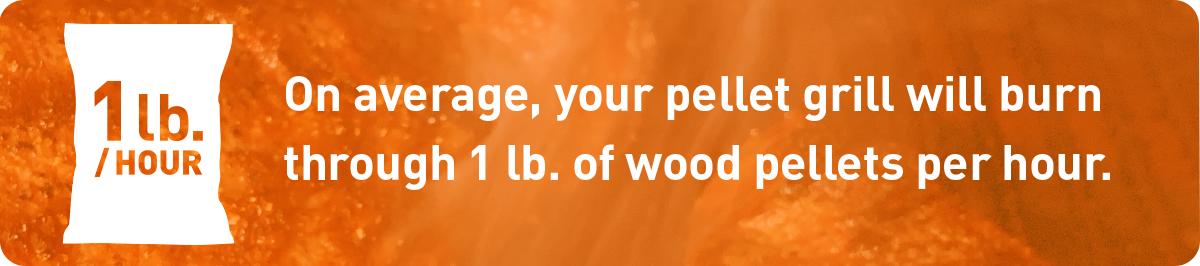 average of 1 lb of wood pellets per hour