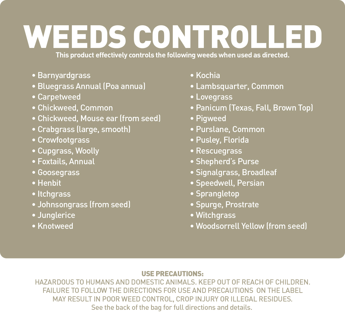 weeds controlled by preemergent herbicide
