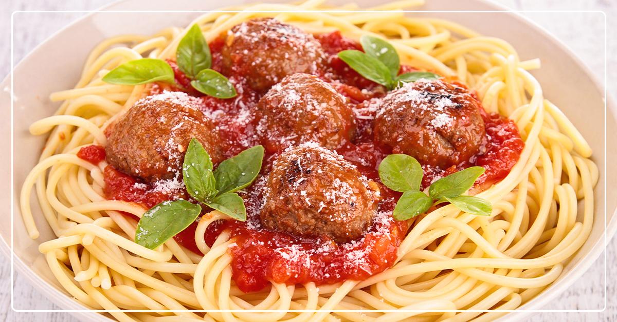 Farmhouse Recipe for Spaghetti & Meatballs with Fresh Breadsticks